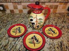 New listing Vintage Certified International Kate McRostie Olive Ceramic Tea Pot & 3 Plates