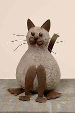 Dekofigur Katze Kater H: 21 cm Metall Rost Katzenfigur Edelrost Gartendeko braun