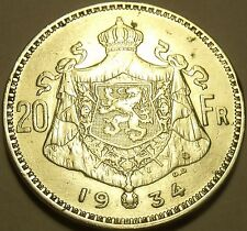 EXTREMELY RARE DOUBLING ERROR SILVER BELGIUM 1934 20 FRANCS~AWESOME~FREE SHIP~