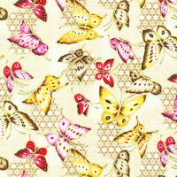 Fat Quarter Asian Garden Butterflies Cotton Quilting Fabric  Fabri Quilt