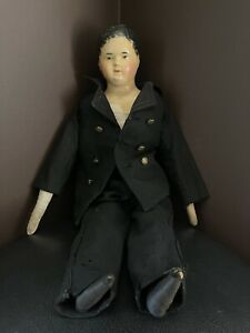 "RARE Vintage 1800's papier mache boy doll, approx 20"" tall"