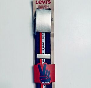 Levi's Red White and Blue Web Reversible Adjustable Belt - NWT - Mens USA