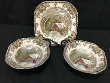 """Johnson Brothers """"THE FRIENDLY VILLAGE"""" ~ 3 Piece Lot ~ Bowls & Plate"""