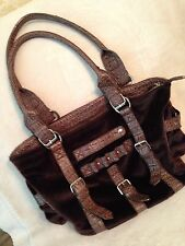 ~NICE~Dark Brown Fur Purse with Leather handles and Leather straps in the front