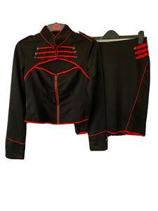 Hell Bunny Steampunk Goth Red Black Satin Jacket Skirt Wiggle XL 16