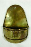 "Vintage Brass Wall Pocket Planter W/ Brass Rope Tassel Accent 9 7/8""x 6 5/8"""