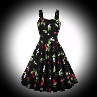 New Black Cherry Print Rockabilly Fit & Flare 50s Party Dress size 3XL 12 14 16
