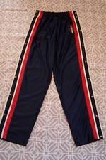 VTG Tommy Hilfiger Athletics Tear Away Polyester Track Pants Flag Buttons Lg L