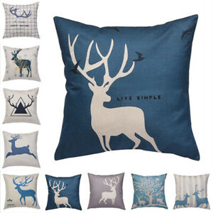 18'' Vintage Stag Tree Deer Print Linen Throw Pillow Case Cushion Cover Decor