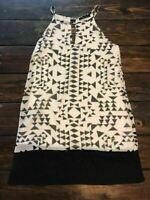 Honey Punch Mini Dress Boho Hippy Geometric Abstract Black & White Small S MINT