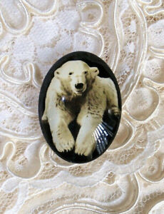 Polar Bear 30X40mm Glitter Unset Handmade Glass Art Bubble Cameo Cabochon