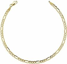 "Anklet Real 14K Yellow Gold 3.2mm 10"" Solid Royal Figaro Link Ankle Bracelet"
