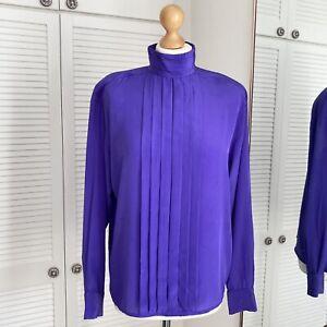 Alexandria Purple Blouse Size 10 Vintage High Neck Pleated Front Secretary Geek