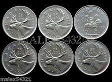 🇨🇦​CANADA 1969 TO 1975 CARIBOU 25 CENTS SET UNC (6 COINS) (NO 1970)