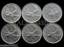 1969 TO 1975 CARIBOU 25 CENT SET UNC (6 COINS) (NO 1970)