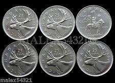 1969 TO 1975 CARIBOU 25 CENT SET UNC (6 COINS) (NO 1970)