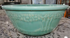 "Homer Laughlin Stoneware 10"" Mixing Bowl Orange Tree Turquoise Blue Vtg Antique"