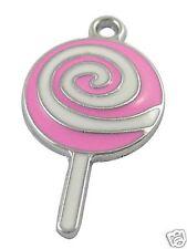 4 x Pink Lollipop Silver Plated  Enamel Pendant Charms