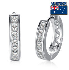 Wholesale 925 Sterling Silver Filled Clear Zircon Crystal Huggie Hoop Earrings