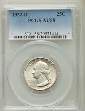 U.S. 1932-D WASHINGTON QUARTER/25 CENTS, ALMOST UNCIRCULATED CERTIFIED PCGS-AU58