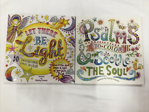 Lot of 2 Adult Christian Coloring Books Let There Be Light, Psalms To Color