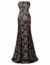 Lace& Sequins Masquerade Long Evening Formal Ball Gown COCKTAIL Party Prom Dress