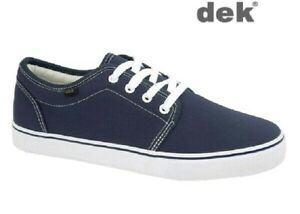 DEK Navy Blue Canvas Yachting Shoes Deck Boat Lace-up Rubber Sole Size 4-12 UK