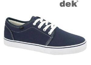 Deck Shoes Blue Canvas DEK Navy Yachting Boat Lace-up Rubber Sole Size 6-12 UK