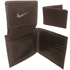 Nike Golf Mens Brown Textured Passcase Genuine Leather Wallet