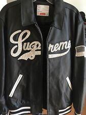 Supreme Uptown Studded Leather Varsity Jacket Size M Black SS16J28 New 2016