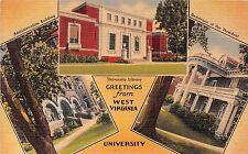 Large Letter postcard Greetings from West Virginia University Morgantown ca 1944
