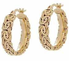 """7/8"""" Round Byzantine Hoop Earrings Real 14K Yellow White Rose Pink Gold QVC"""