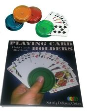 """BOXED 4 x PLAYING CARD """" HOLDERS """" POKER CARD GAMES KIDS CHILDRENS BOXED"""