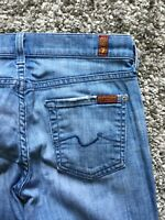 """7 for all mankind light wash bootcut size 25 Stretch low rise actual 30"""" x 29"""""""