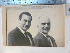 Vintage Wire Press Photo-King Hussein With Egyptian Pres Mubarak Amman JO 1985