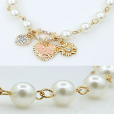 Womens Lady Chic Imitation Pearl Gold Plated Chain Bangle Bracelet Jewelry Gift