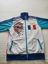 RARE ED HARDY MEN COAT ZIP TRACK JACKET BLUE WHITE RED FRANCE FLAG SKULL VESTE
