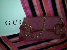 Auth GUCCI HORSEBIT CLUTCH BAG MONOGRAM GG PINK  SHOULDER CHAIN PURSE GORGEOUS