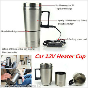 12V Portable In-Car Coffee Maker Tea Pot Thermos Heating Stainless Steel Cup New