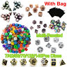 7/42/56/70/126/140 Pcs Embossed Heavy Alloy Acrylic Game Polyhedral Dices + UK