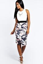 Boohoo Womens Talia Floral Contrast Asymetric Midi Bodycon Dress