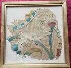 """Rare 16th c. European silk embroidery on silk tapestry fragment.  10"""" x 9"""