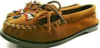 Minne Tonka Women Moccasins Size 8 Brown Suede Leather Beaded Decoration