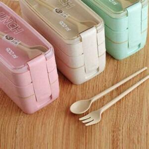 Lunch Box 3-Layer Wheat Straw Bento Box Microwave Food Lunchbox Containers S5W5