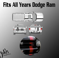 Dodge Ram Single Offset Rally Racing Stripes Vinyl Decal Graphics Kit All Years