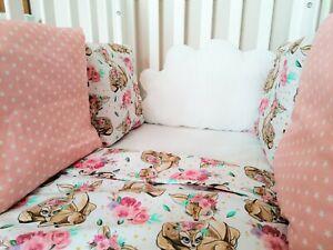 Personalised Handmade Pink Dreams Deer Girl Cot bed Pillow Cushion Bumper Baby G