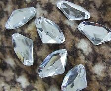 80 Clear Faceted Fan Beads Acrylic Rhinestones/Gems 17x27mm Flat Back SewOn