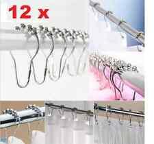 12PCS/Set Chrome Plated Ball Bead Easy Glide Shower Metal Curtain Rings Hooks AU