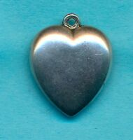 Vintage Sterling Silver Puffy Heart Charm from 1940's