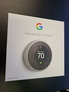 New in Box Nest T3019US 3rd Generation Learning Thermostat Stainless Steel